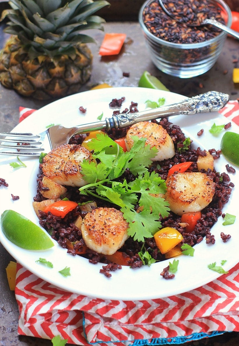 Fresh, healthy, and delicious! Seared Scallops with Coconut Rice, Pineapple, and Ginger