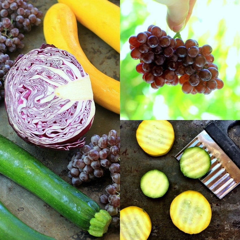 Summer Squash, Purple Cabbage, and Champagne Grapes