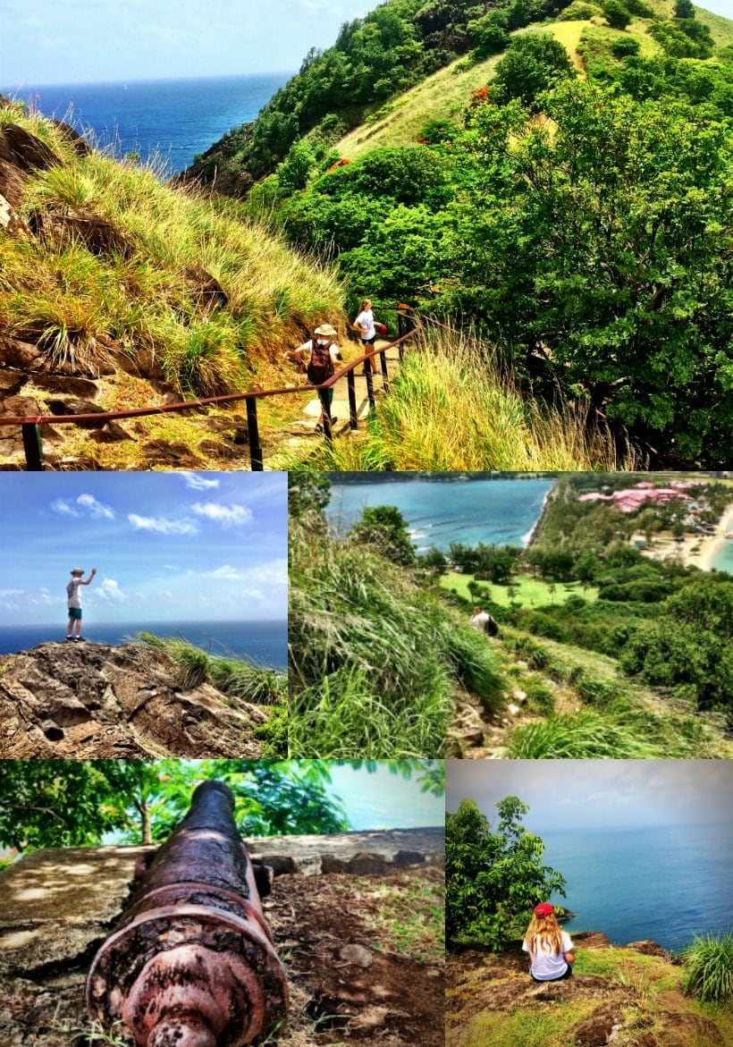 If you're visiting St Lucia and love to hike, be sure and visit Pigeon Island! This is is moderately steep hike to two lookout points, with stunning views from the top. As a bonus, the hike is only ~2 miles round-trip from the entrance gate. Be sure and bring lots of water because there isn't much shade, and it gets hot!