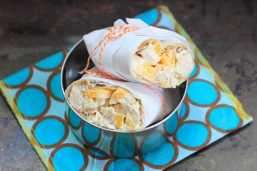 Teen and Tween approved brown bag school lunch! Mango Chicken Salad Wraps | Recipe by EA Stewart, The Spicy RD, at The Food Network's Healthy Eats Blog