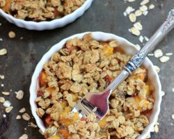Dessert for Breakfast! Easy Peach Crisp {Healthy, Vegan, Gluten Free}