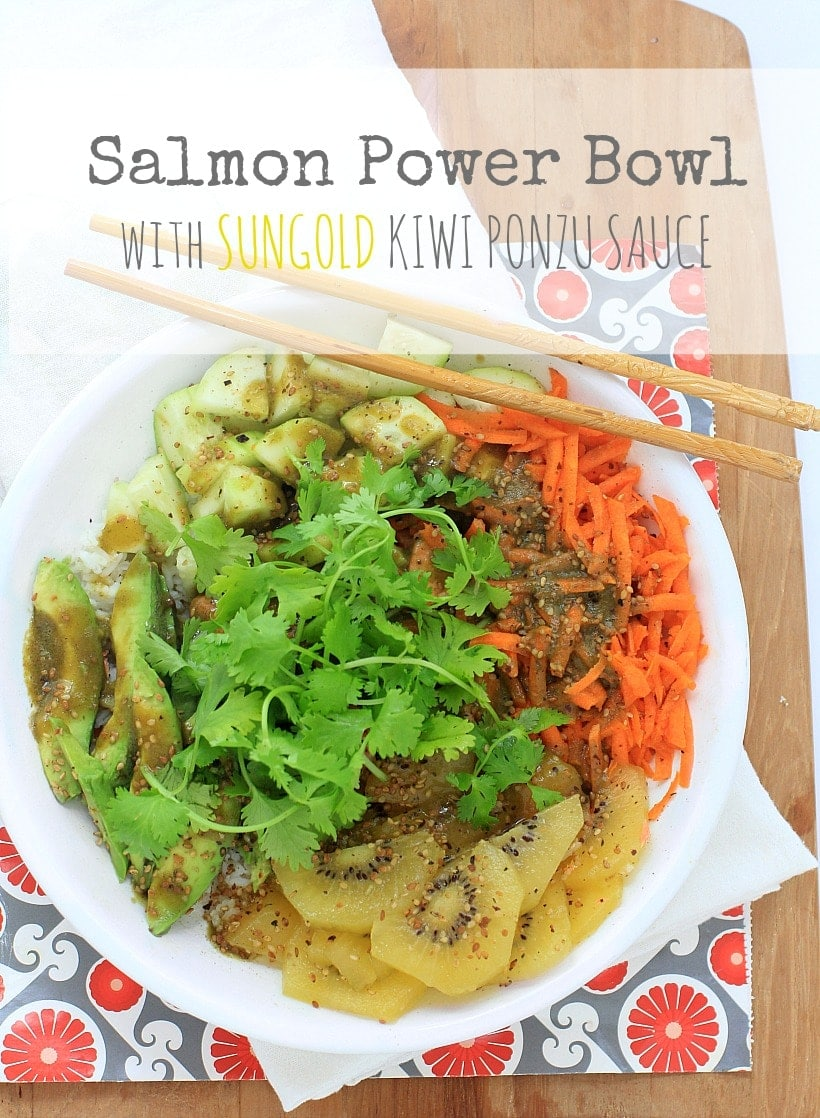 Salmon Power Bowl with SunGold Kiwifruit Ponzu Sauce #sponsored