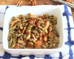 Chia Oatmeal Power Bowl with Maple Peanut Butter Pumpkin Swirl, Pecans, & Pumpkin Seeds