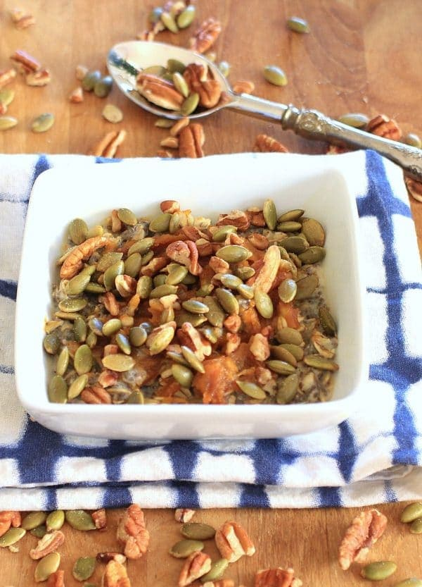 This Chia Oatmeal Power Bowl with Maple Peanut Butter Swirl, Pecans, and Pumpkin Seeds, is stick-to-your-ribs delicious. It also happens to be gluten-free and vegetarian, with easy vegan or low FODMAP substitutions. | Recipe at The Spicy RD www.eastewart.com