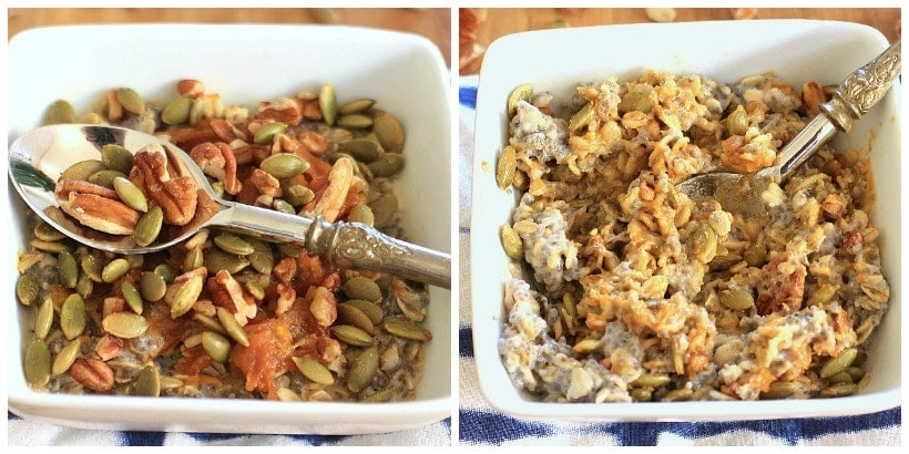 Utterly addictive! Chia Oatmeal Power Bowl with Maple Peanut Butter Pumpkin Swirl, Pecans, and Pumpkin Seeds | Recipe @thespicyrd www.eastewart.com