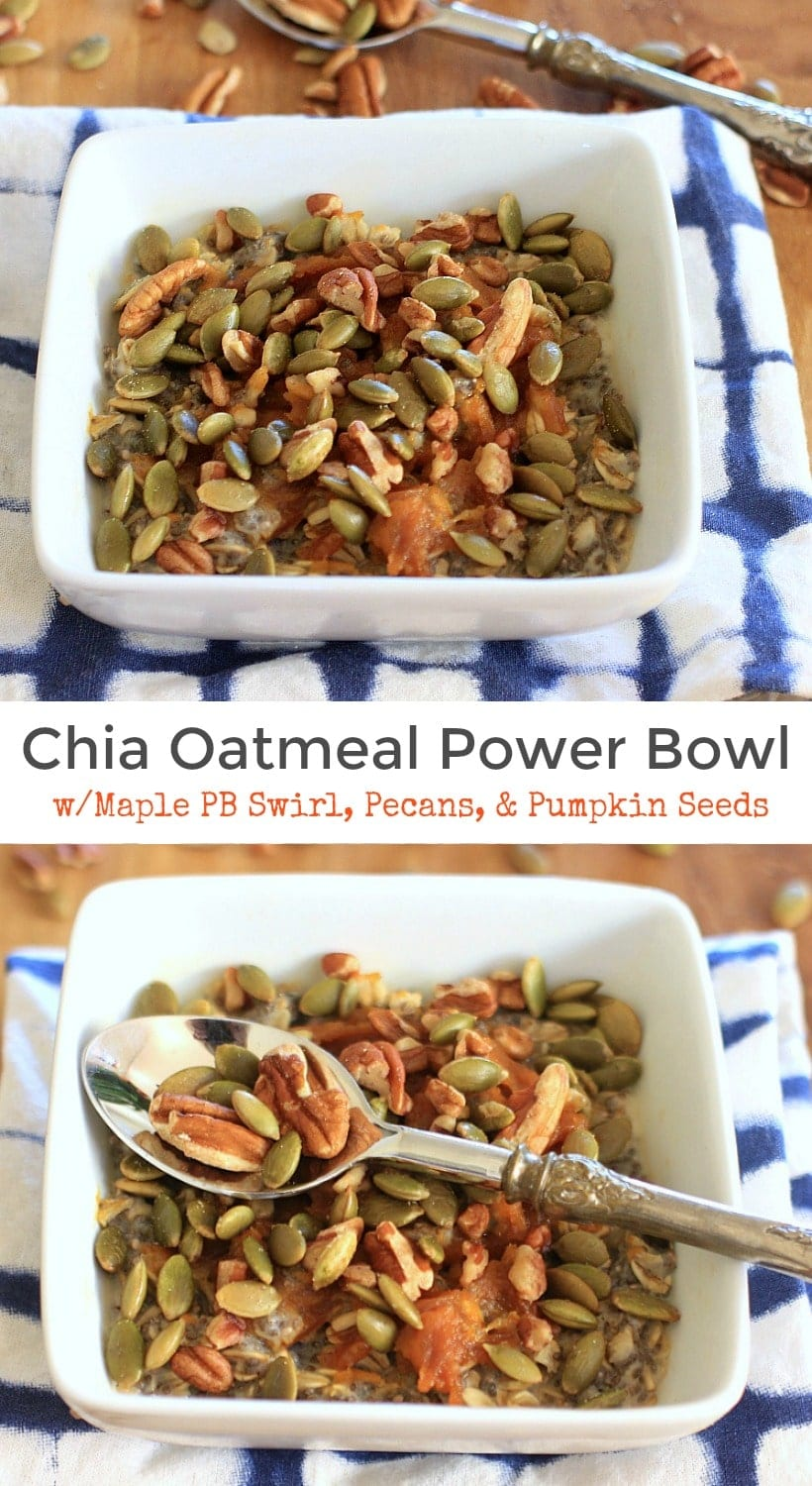 Utterly addictive! Chia Oatmeal Power Bowl with Maple Peanut Butter Pumpkin Swirl, Pecans, and Pumpkin Seeds | Recipe is gluten free, w/ low FODMAP and vegan options.