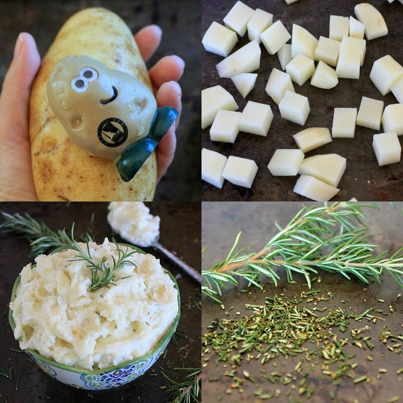 How to make Healthy Mashed Potatoes with Rosemary and Goat Cheese @thespicyrd www.eastewart.com #AD