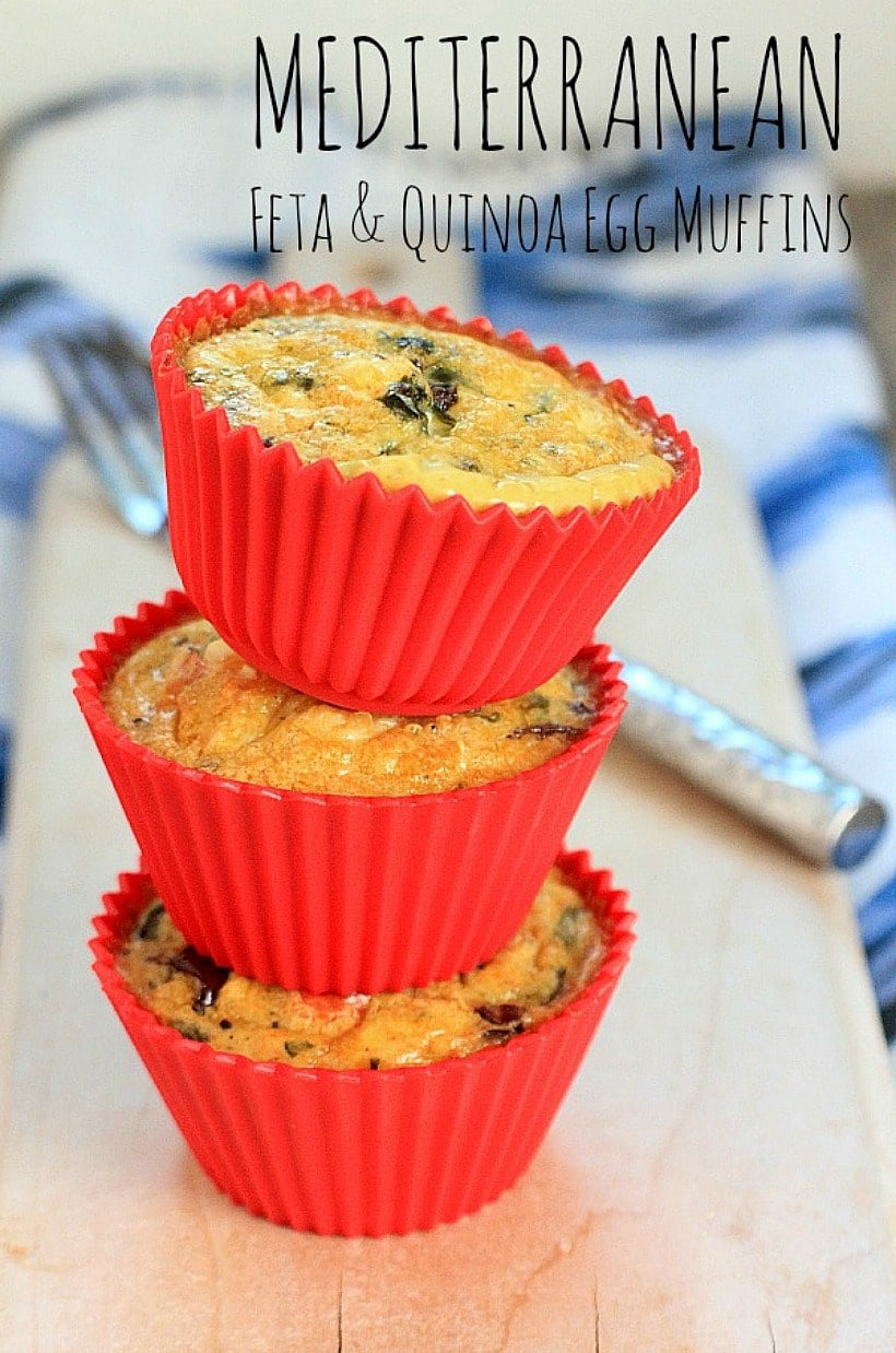 Packed w/ protein & complex carbs, these Mediterranean Feta & Quinoa Egg Muffins are a healthy grab-and-go after-school snack that's teen and tween approved! | Recipe @thespicyrd www.eastewart.com