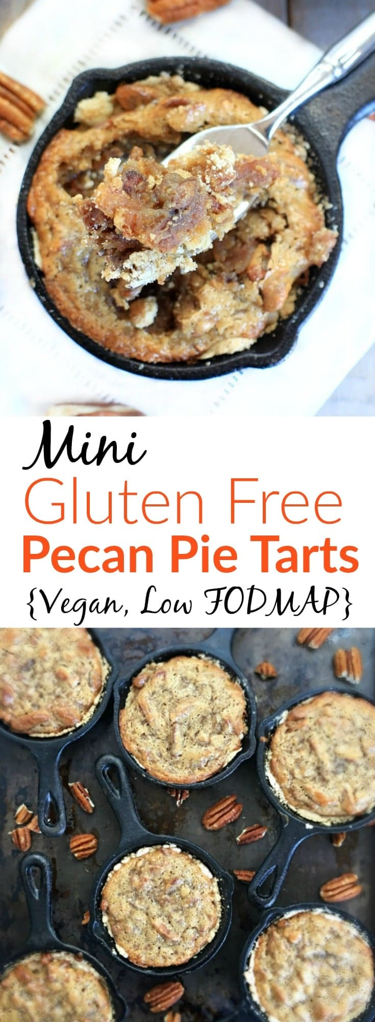 These Gluten Free Mini Pecan Pie Tarts get rave reviews! Perfect for the holidays, they're also vegan, low FODMAP, and a little bit healthy too! #ThanksgivingRecipes #glutenfreevegan #lowFODMAP #Christmas