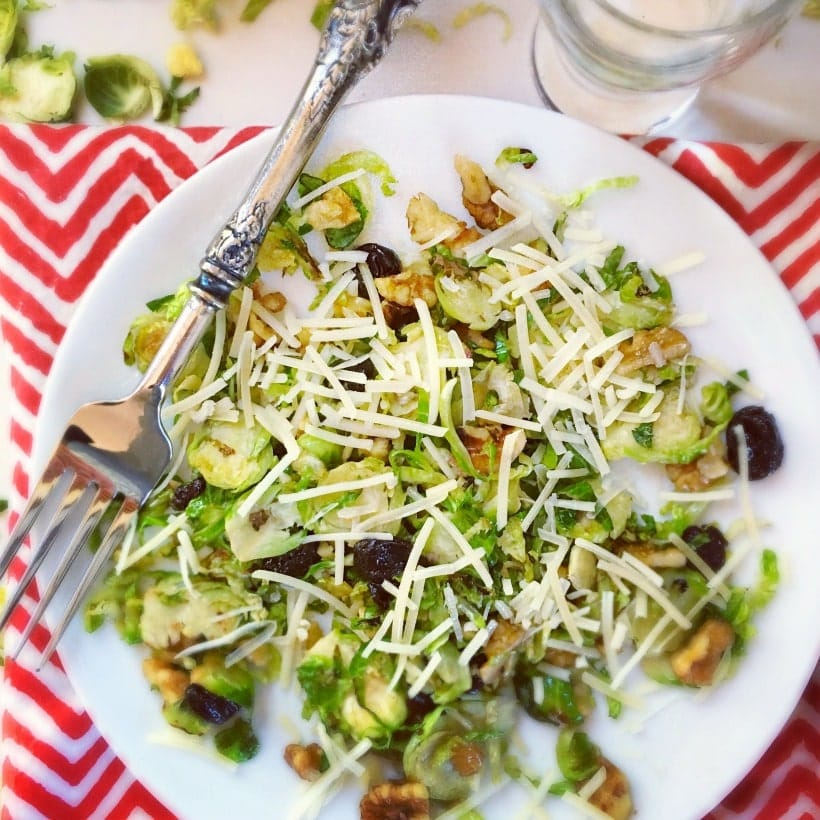 Sauteed Brussels Sprouts with Tart Cherries and Toasted Walnuts | Gluten Free Brussels Sprouts Recipes @thespicyrd