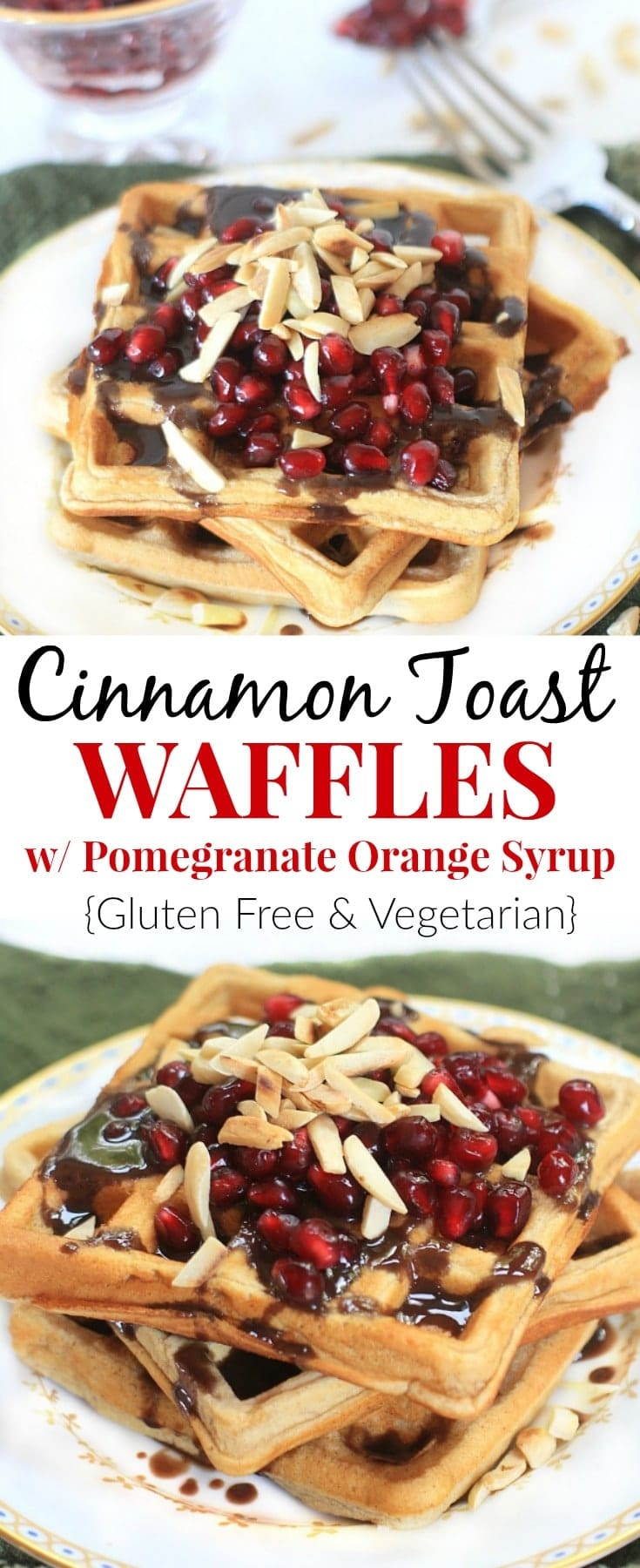 These Cinnamon Toast Gluten Free Waffles with Pomegranate Orange Syrup and Toasted Almonds are a festive and delicious holiday breakfast treat! #Sponsored #GlutenFree #Vegetarian #pomegranates #waffles