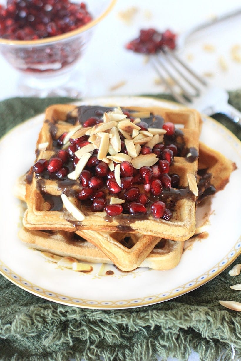 #AD Dig in to these festive Cinnamon Sugar Gluten Free Waffles w/ Pomegranate Orange Syrup and Toasted Walnuts
