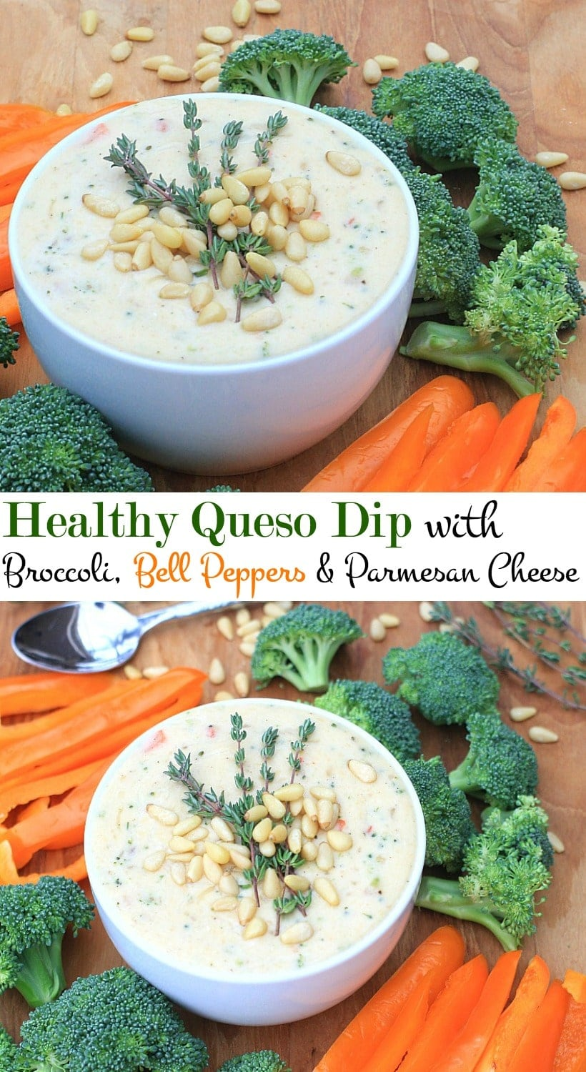 Healthy Queso Dip with Broccoli, Bell Peppers, and Parmesan Cheese #Sponsored | Gluten Free, Vegetarian, and Grain Free Recipe @thespicyrd