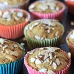 Super moist and delicious, these Gluten Free Carrot Cake Muffins featuring Simply Sesame Vanilla Almond Spread, are also dairy free, and low in added sugar~perfect for a healthy treat! #AD