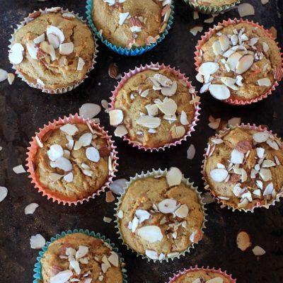 Eat More Muffins! Gluten Free Carrot Cake Muffins w/ Simply Sesame Vanilla w/ Almond Bits