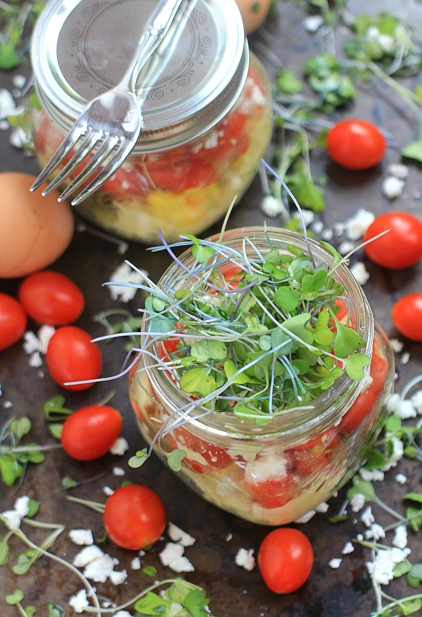 Genius Healthy Breakfast Hack! Scrambled Eggs in a Jar | Recipe, at The Spicy RD, is gluten free, low carb, vegetarian, w/ a low FODMAP option. Delicious for lunch or dinner too!