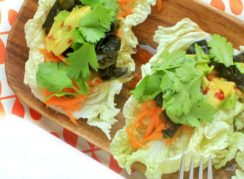 Sea Veggie Tacos with Asian Sesame Dipping Sauce
