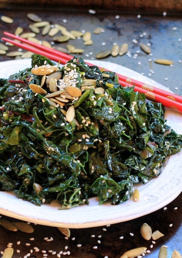 Seriously addictive greens! Spicy Kale and Swiss Chard Saute   Healthy recipes, gluten free, vegan, paleo, low FODMAP option