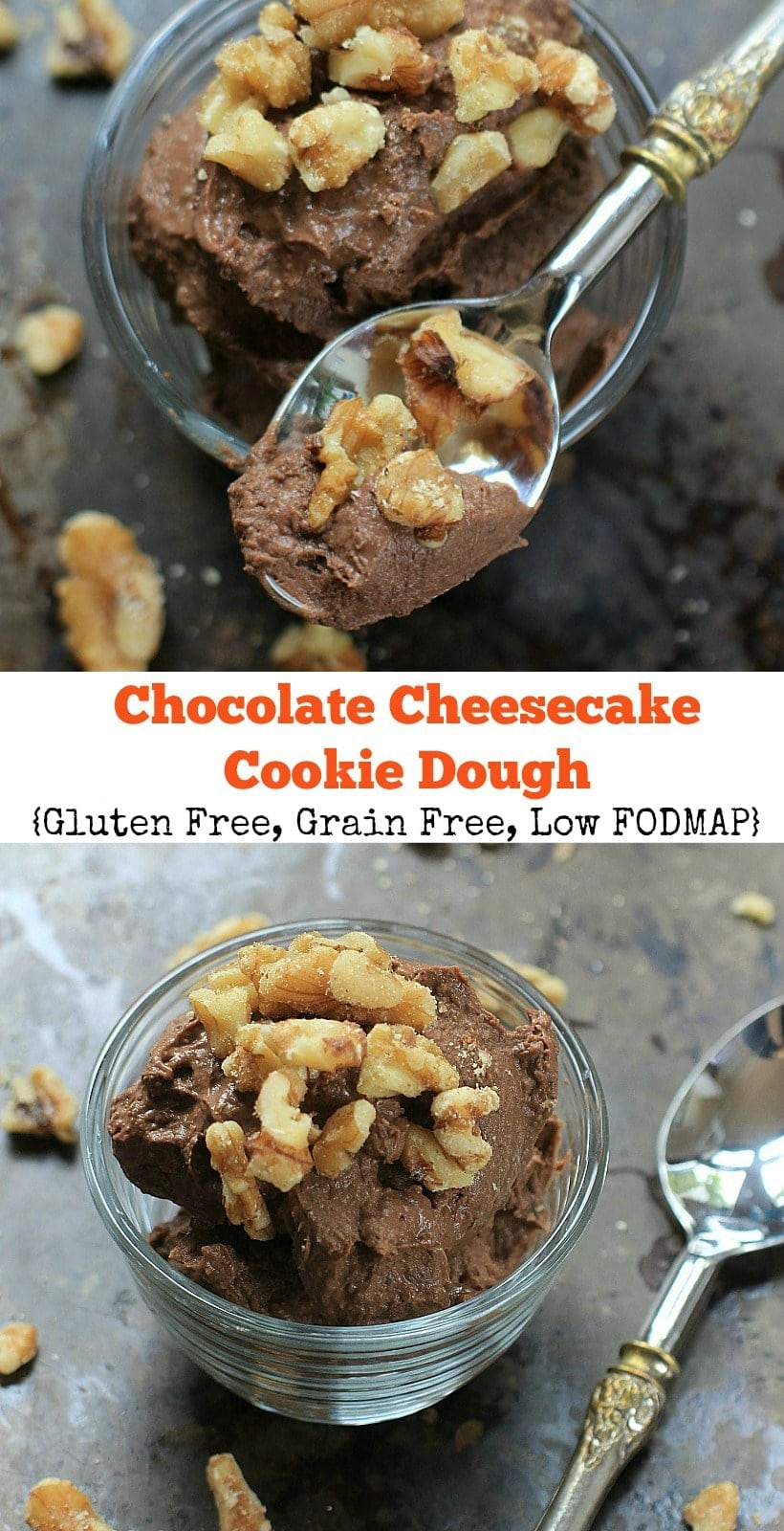 A healthy treat! Chocolate Cheesecake Cookie Dough | Made with only 5 ingredients, this no-bake edible cookie dough will satisfy ALL your chocolate cravings! Get the grain free, low FODMAP option recipe + more healthy gluten free recipes at The Spicy RD