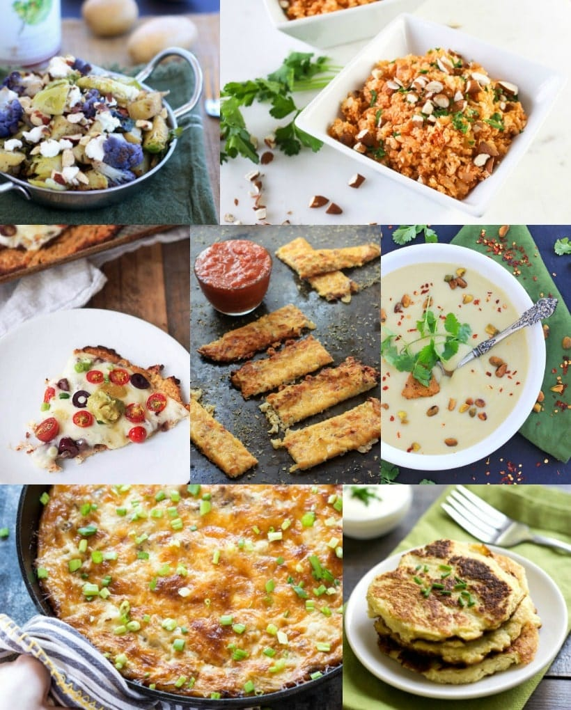 Crazy for Cauliflower! You'll love these 26 healthy, gluten free, and absolutely delicious, cauliflower recipes!~There's something for everyone, including vegan, paleo, and grain free options. Get the recipes at The Spicy RD