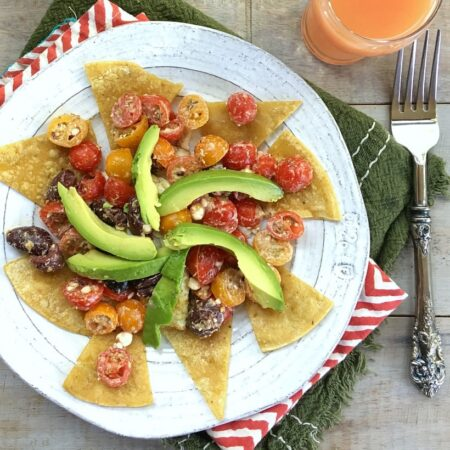 Easy Chilaquiles With Greek Salsa and Avocado | Gluten Free, Vegetarian, Low FODMAP | Get the recipe + more healthy & delicious recipes at the Spicy RD!