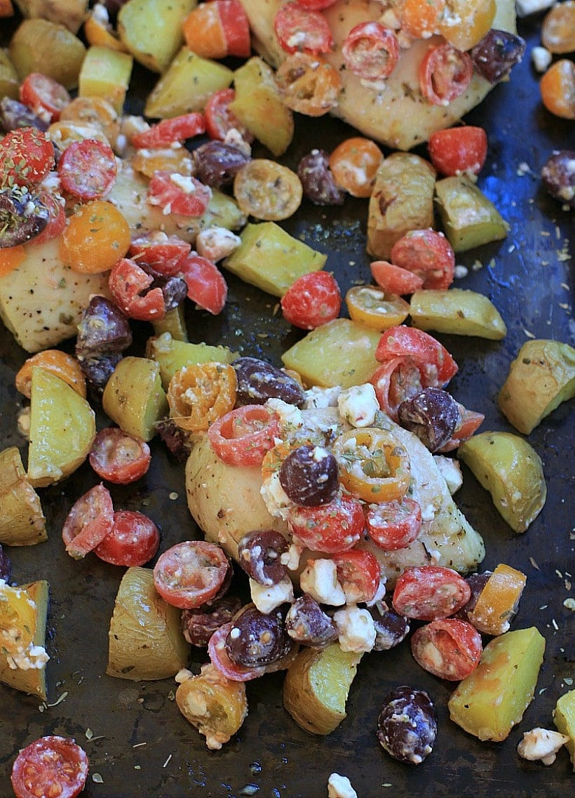 Sheet Pan Chicken and Potatoes with Greek Salsa } | Easy, Healthy Dinner Recipes | Gluten Free, Grain Free, Low FODMAP option