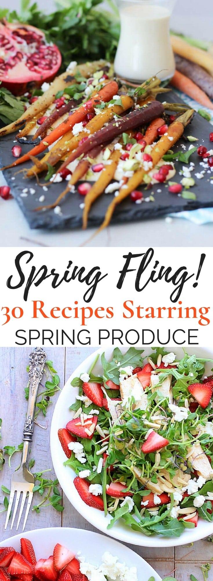 30 Healthy Vegetarian Spring Recipes featuring seasonal produce from A to Z including artichokes, arugula, asparagus, carrots, leeks, mango, peas, radishes, rhubarb, and strawberries. Enjoy! #spring #glutenfree #vegetarian #healthyrecipes