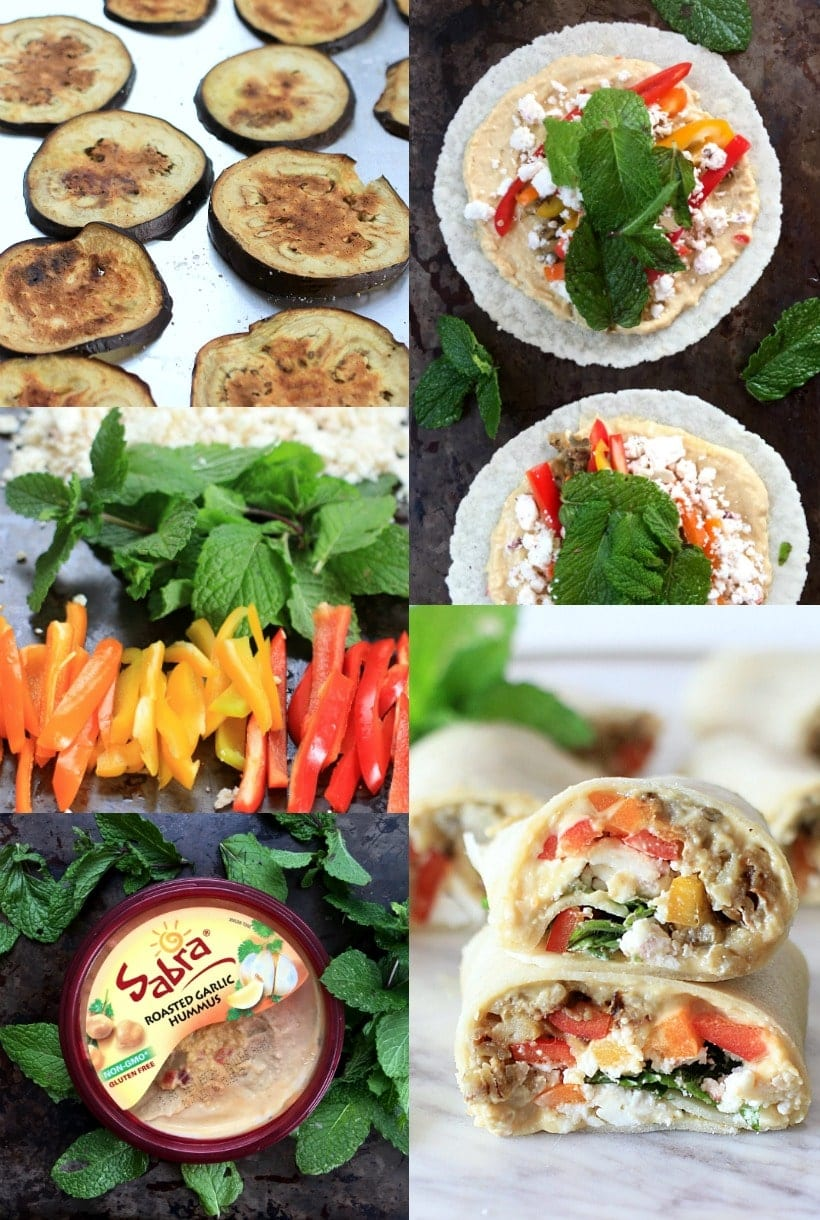 How to Make Sabra Hummus Veggie Wraps with Roasted Eggplant, Peppers, Mint, and Feta Cheese #sponsored
