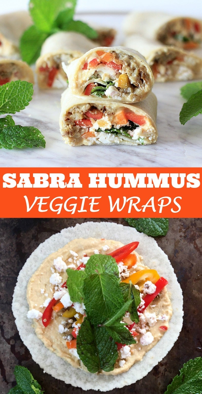These Sabra Hummus Veggie Wraps are powered with plant based protein + peppers, roasted eggplant, fresh mint, & feta cheese~perfect for a healthy, yet filling lunch, snack, or appetizer! Get the gluten-free recipe at EA Stewart, The Spicy RD #sponsored