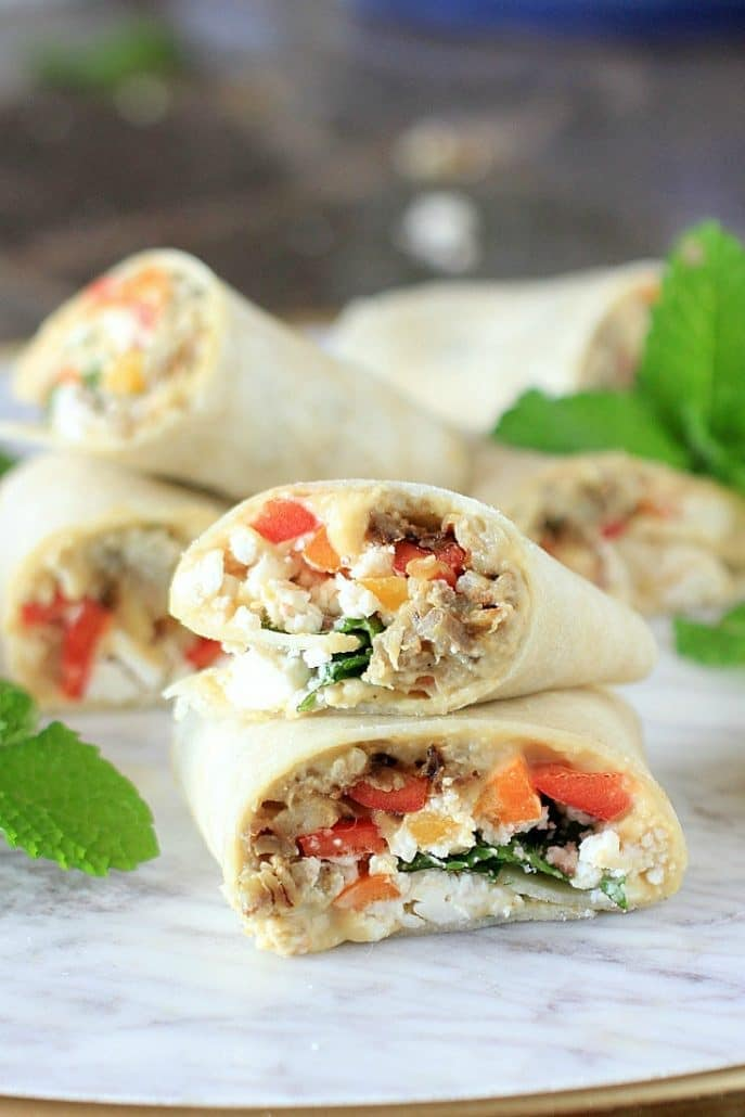 Sabra Hummus Veggie Wraps with Eggplant, Peppers, Mint, & Feta Cheese