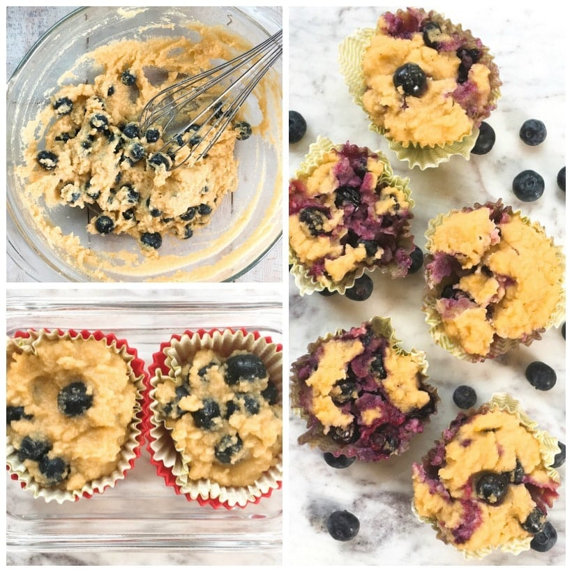 "1 Minute Gluten-Free Blueberry Muffins with Lemon Zest | Make the batter ahead of time, store the muffins in the fridge, then bake one in the microwave for ~ 1 minute, and enjoy a yummy, warm, nutritious freshly ""baked"" blueberry muffin for breakfast or a healthy treat!"