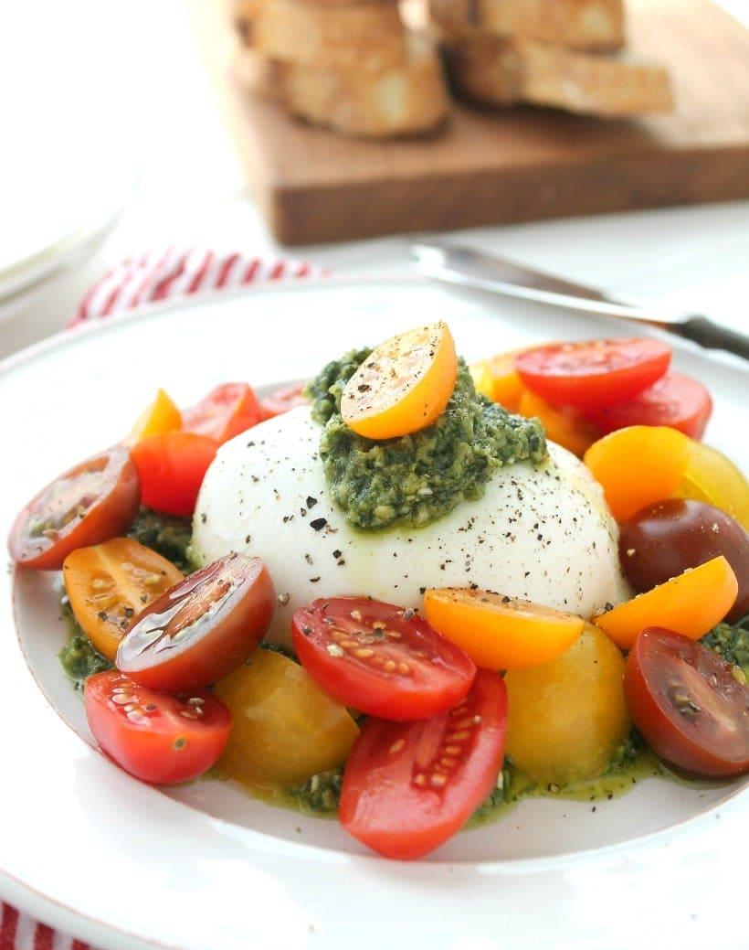 Creamy Buratta Cheese with Pesto and Tomatoes
