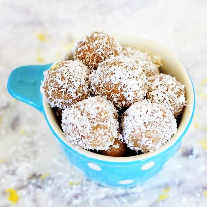 Super yummy & healthy treat! Gluten Free Cinnamon Lemon Coconut Bliss Balls | Recipe is gluten free, vegan, and low FODMAP
