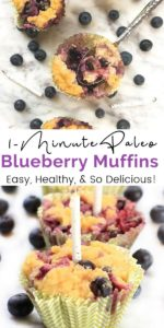Paleo Blueberry Muffins graphic with muffins on a white marble tray