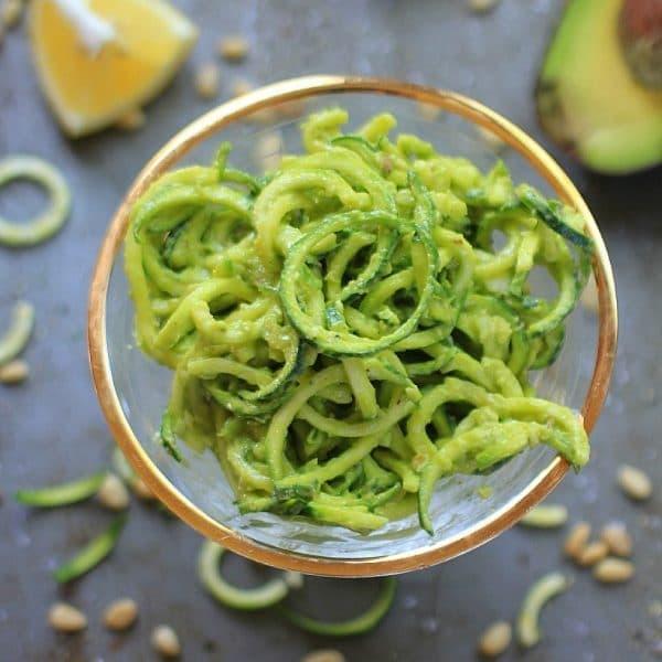 Easy Lemony Zucchini Noodles with Avocado Pesto | Vegan & Gluten Free