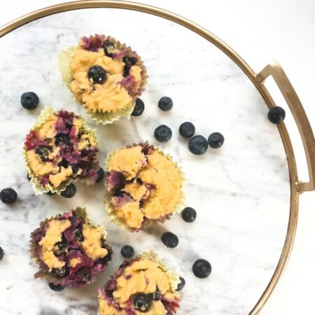 So moist, healthy, and delicious! Gluten Free Blueberry Muffins with Lemon Zest. They're paleo too, and you can make them ahead of time to microwave for a quick and easy, healthy breakfast.   Get more gluten free recipe at EA Stewart, The Spicy RD