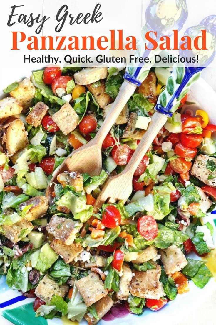 Clean out the fridge! This Easy Greek Panzanella Salad is a healthy meal for lunch or dinner Get the gluten free, vegetarian, & low FODMAP recipe @thespicyrd #panzanellasalad #healthydinner #vegetarianrecipe #lowfodmap