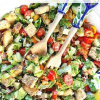 EASY Greek Panzanella Salad + More Happy Things & Healthy Living Tips
