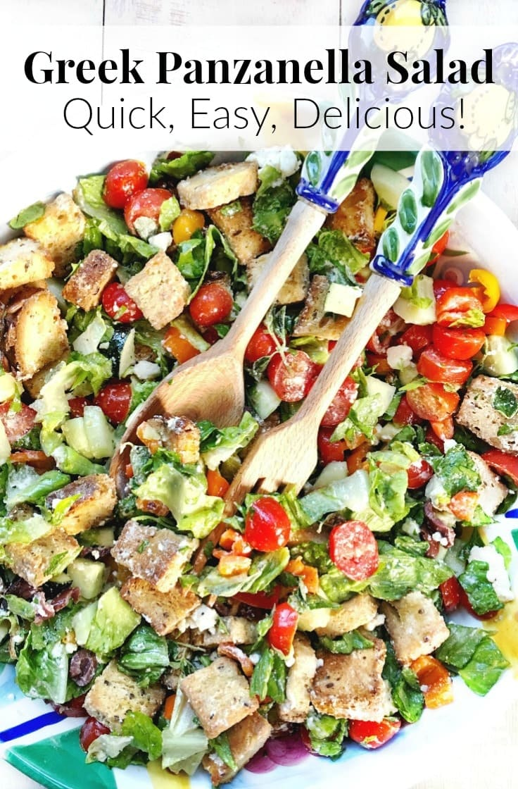 This Easy Greek Panzanella Salad is a delicious way to clean out the fridge & eat more veggies! Get the recipe at EA Stewart, The Spicy RD @thespicyrd | Gluten Free, Vegetarian, & Low FODMAP