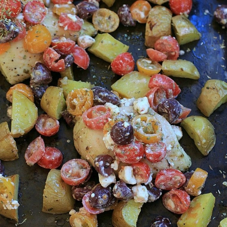 Sheet Pan Chicken and Potatoes with Greek Salsa