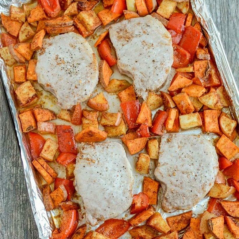 Sheet Pan Pork Chops with Sweet Potatoes & Apples