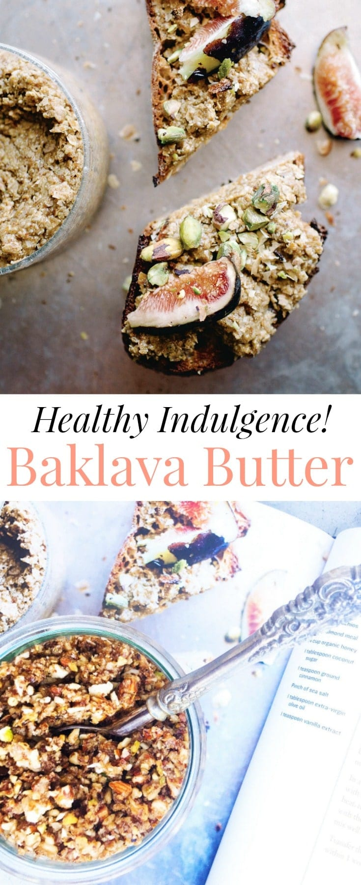 This easy, homemade Baklava Butter is a deliciously healthy indulgence. Even better, it takes less than 10 minutes to make & stores well in the refrigerator for up to 1 week. Eat it straight off the spoon, or add it to yogurt or oatmeal, or spread it over whole grain gluten free toast for a nourishing breakfast or snack.
