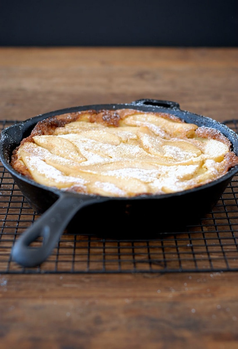 You'll love this easy Gluten Free Dutch Baby with Cinnamon Sugar Spiced Pears-delicious for breakfast OR dinner!