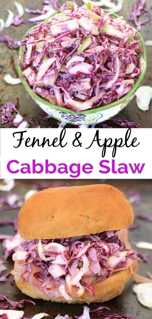You'll love this Fennel, Apple and Red Cabbage Slaw tossed with Creamy Maple Lemon Tarragon Dressing. It's gluten free, low carb, and packed with nutrients. Enjoy it alone, with pulled pork, or on a ham sandwich~any way you eat it, it's delicious! #coleslaw #lowcarb #glutenfree #fall #apple #healthyfood #healthy #vegetarian