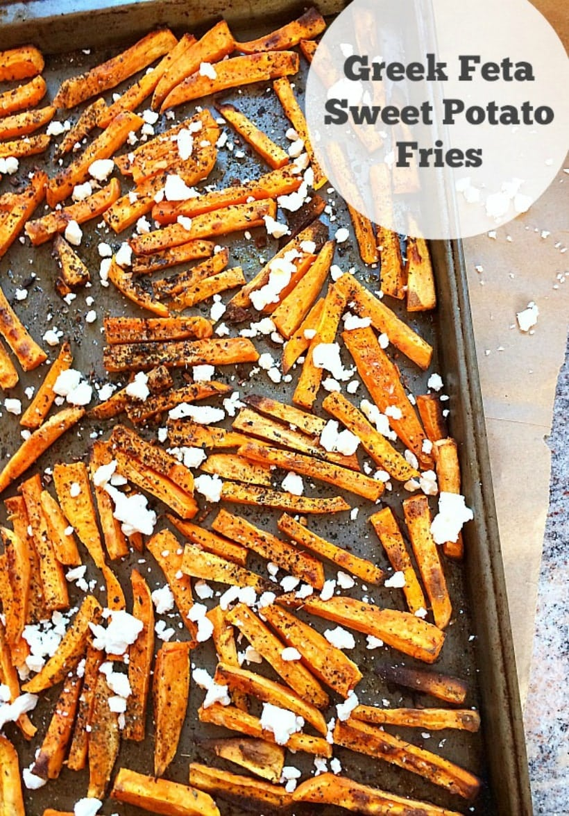 So simple, healthy, and delicious! Greek Feta Sweet Potato Fries + More Healthy #comfortfood recipes @thespicyrd #fall #sweetpotato