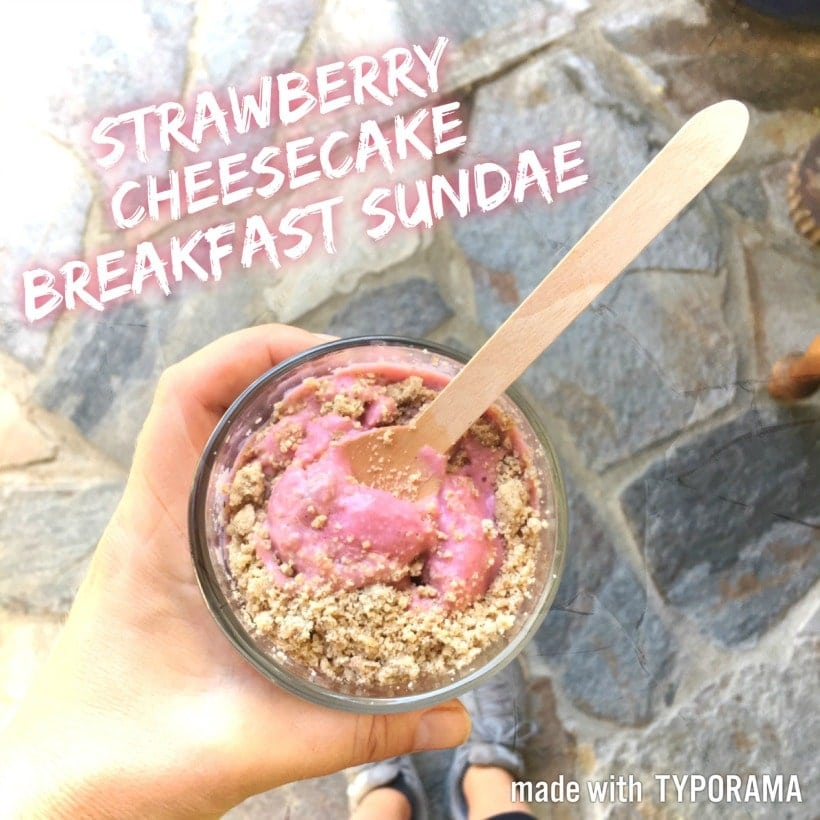 Can you guess the nourishing superfood in this DELICIOUS Strawberry Cheesecake Breakfast Sundae? #DailyHarvest #Superfoods #GlutenFree #Vegan