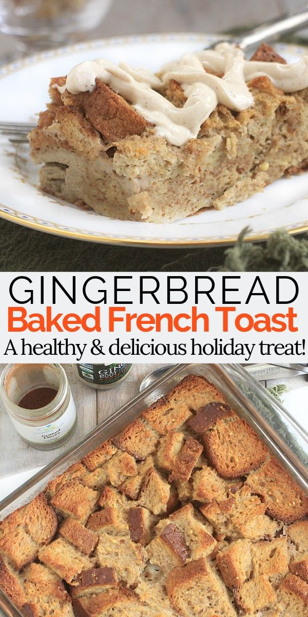 #AD So delicious! Baked French Toast with Gingerbread Cream Cheese Frosting. (Low FODMAP, Gluten Free) A healthy holiday breakfast! #GlutenFree #LowFODMAP #HolidayRecipes #Gingerbread #breakfastrecipes