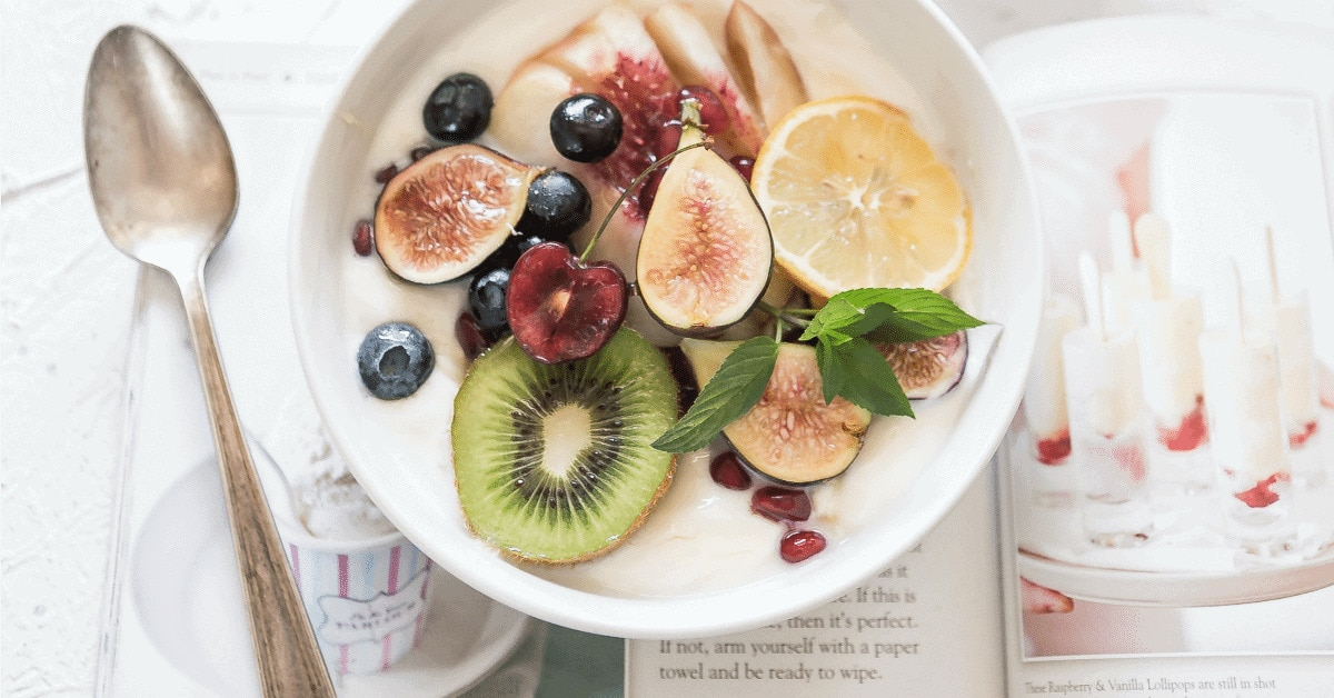 Bowl of yogurt with fruit.