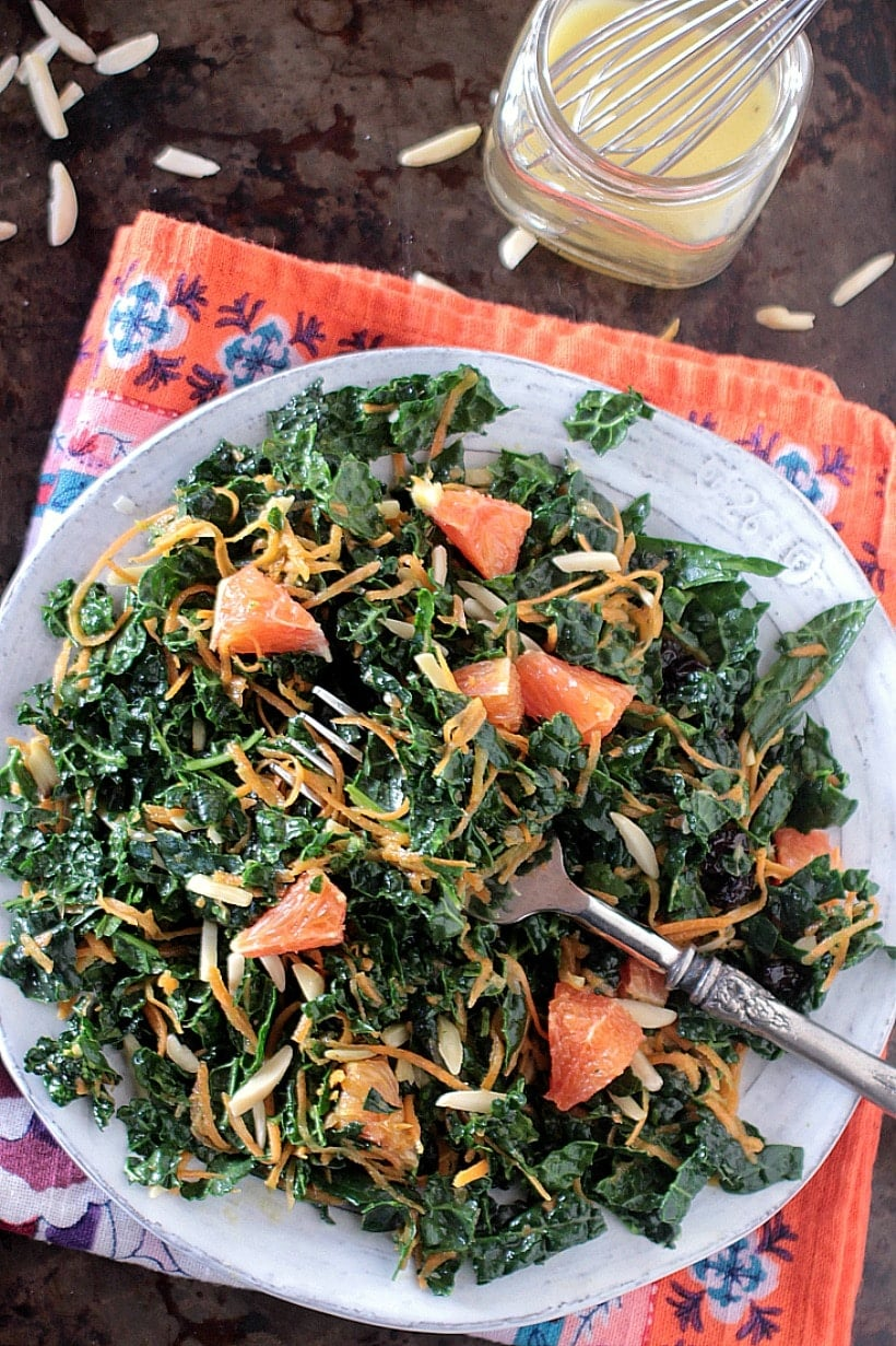 Kale Carrot Salad with Citrus Vinaigrette and Almonds