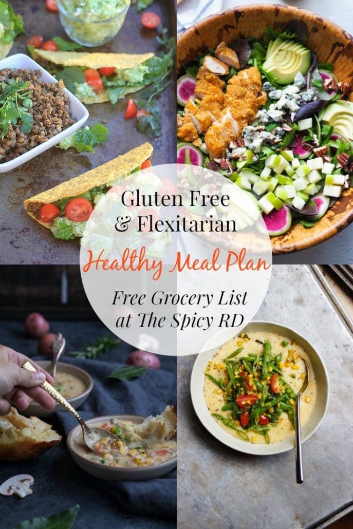 Flexitarian & Gluten Free Meal Plan January 15-22, 2018 | Eat healthy & simplify dinner time w/ a FREE meal plan & grocery list at EA Stewart, @thespicyrd #glutenfree #vegetarian #mealplanning #mealplan #healthyeating